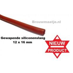 Gewapende silicone slang rood 10 x 16